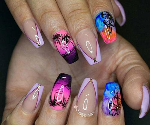 Tropical Escape - Acrylic Nail Design Tutorial