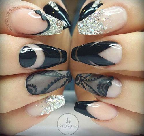 Goth and Glitter Nail Art