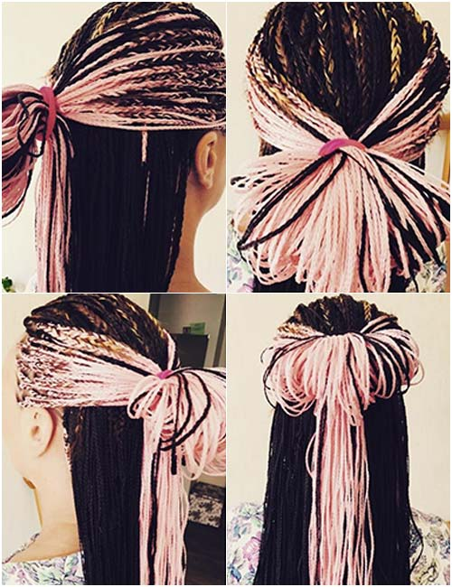7. Bubblegum Pink Micro Braids Half Bun