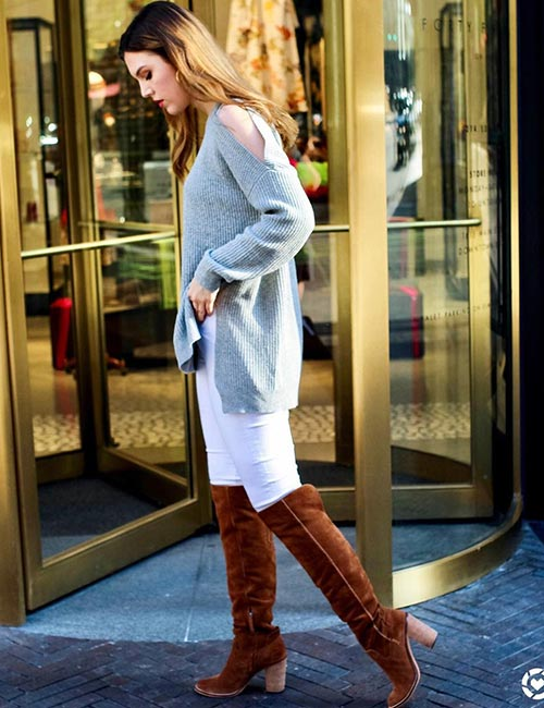 7. White Jeans And Brown Boots For Winters Or Spring
