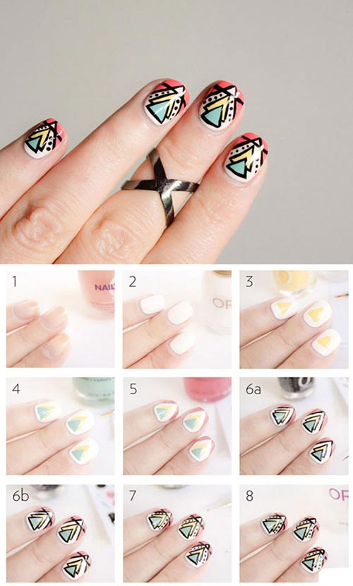 50 creative acrylic nail designs with step by step tutorials aztec nail art tutorial acrylic nails prinsesfo Gallery