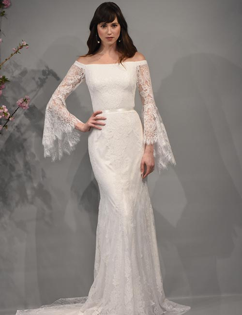 8. Bridal Dress With Off Shoulder Sleeves
