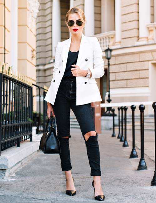 5993f0f286c7 What To Wear With Black Jeans - Distressed Black Jeans With A Blazer