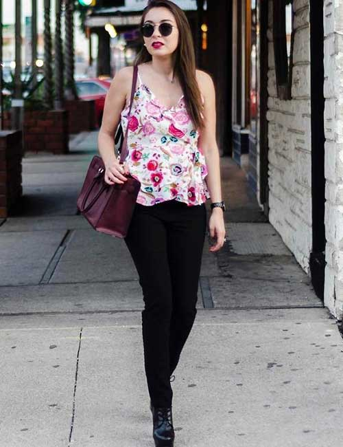 What To Wear With Black Jeans - With A Floral Tank Or Ruffled Top
