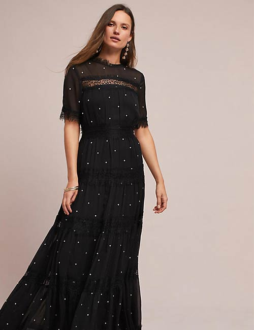 1. Long Black Lace Dress