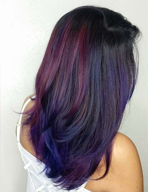 Hidden highlights for brown hair choice image hair extension 20 pretty purple highlights ideas for dark hair peacock highlights pmusecretfo choice image pmusecretfo Gallery