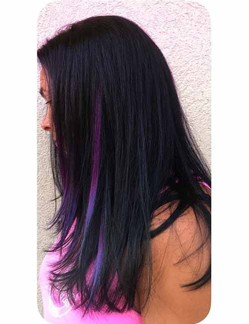 20 pretty purple highlights ideas for dark hair purple hidden highlights pmusecretfo Image collections
