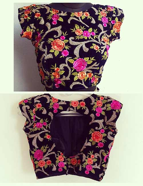12. Velvet Blouse With Threadwork