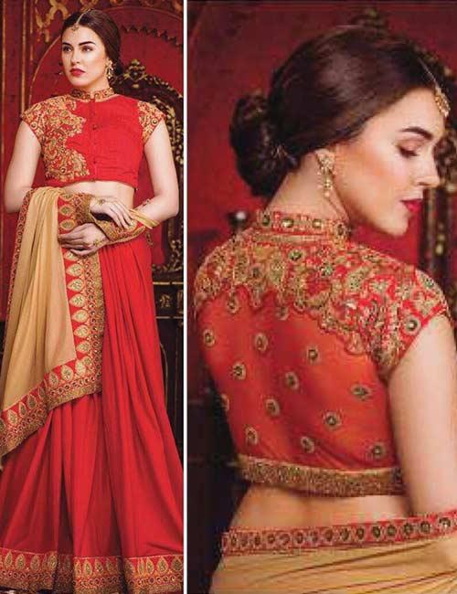 13. Designer Georgette Saree PatchWork Blouse For Wedding Sarees