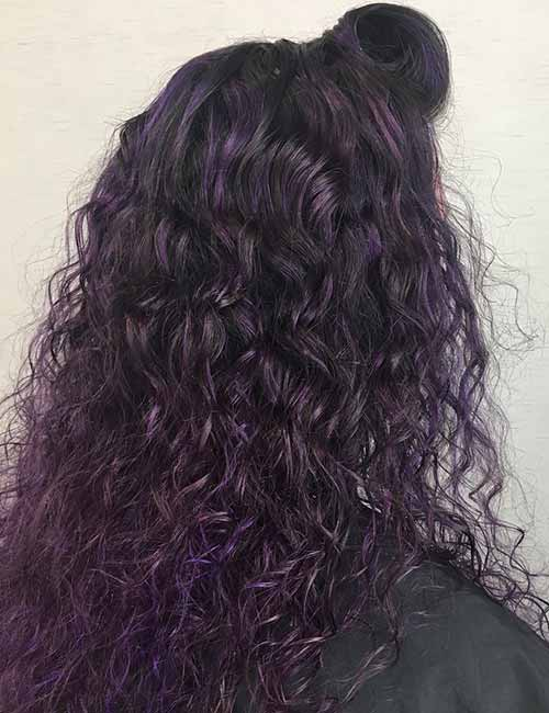 13.Metallic Purple Highlights On Curly Black Hair