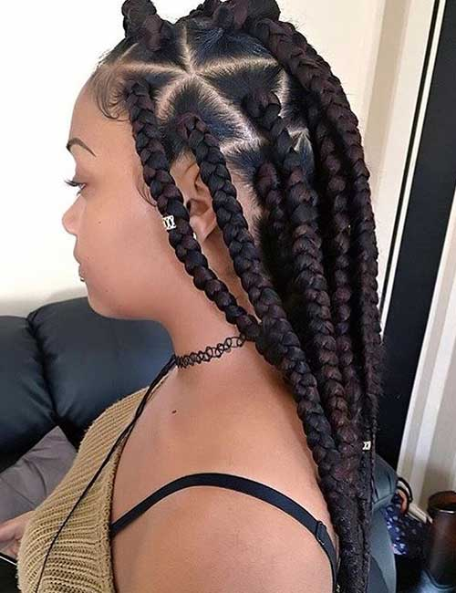14. Triangular Parted Jumbo Box Braids