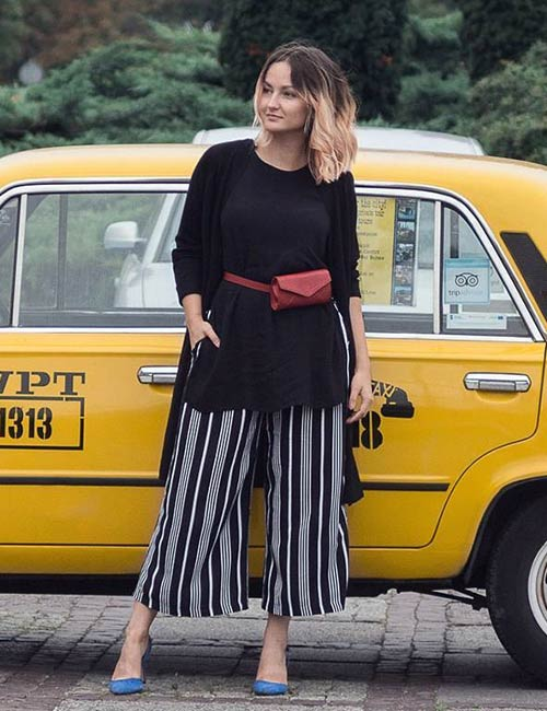 How To Wear Culottes - With A Hip Length Top And Shrug
