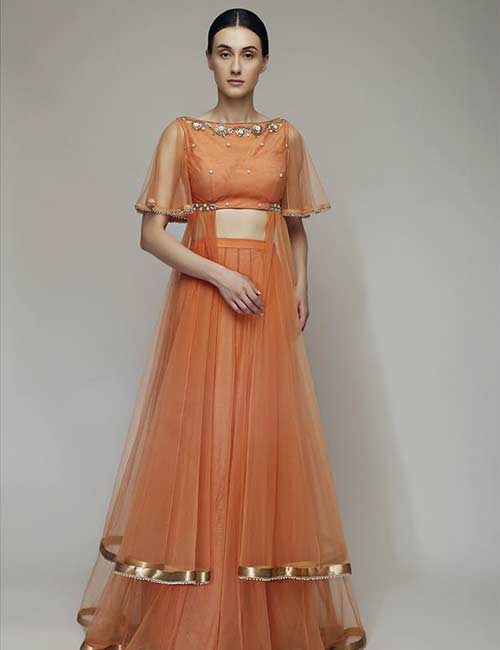15. Boat Neck With Illusion Cape Sleeves For A Lehenga