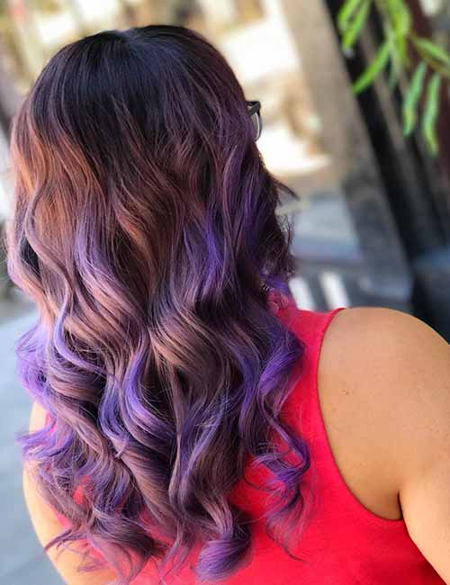 15. Lavender Balayage Highlights