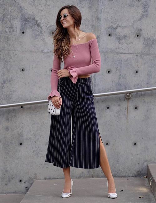 How To Wear Culottes - With An Off-Shoulder Bell Sleeves Sweater