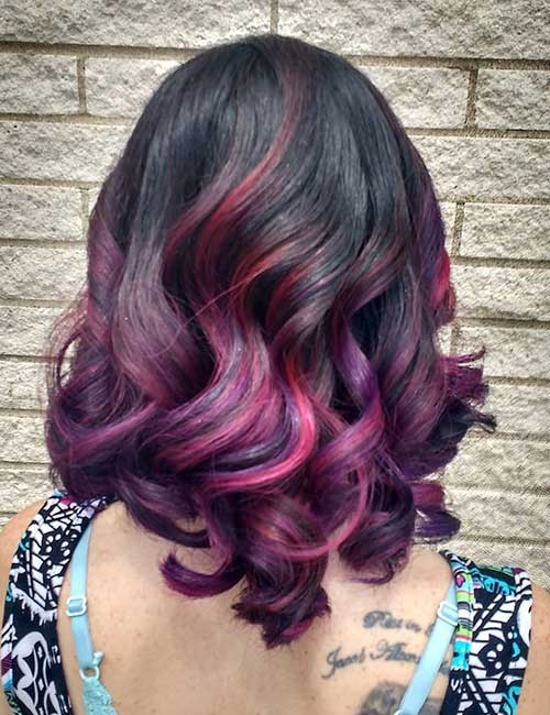 20 pretty purple highlights ideas for dark hair purple and pink ombre highlights pmusecretfo Choice Image