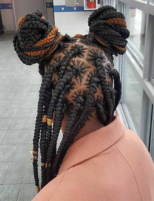 18. Spider Parted Jumbo Box Braids