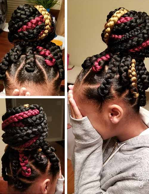 19. Jumbo Box Braids Bun
