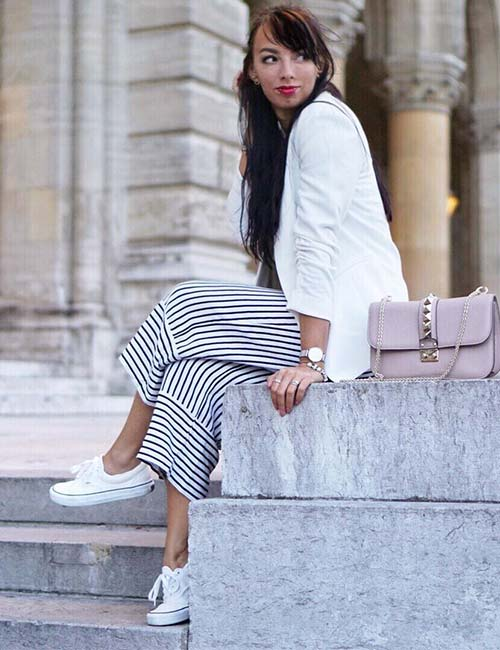 How To Wear Culottes - Striped Culotte Pants With A Blazer