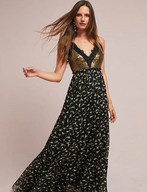 2. Black And Gold Flowing Maxi Dress