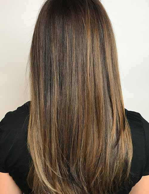 2. Smokey Brown Balayage Highlights