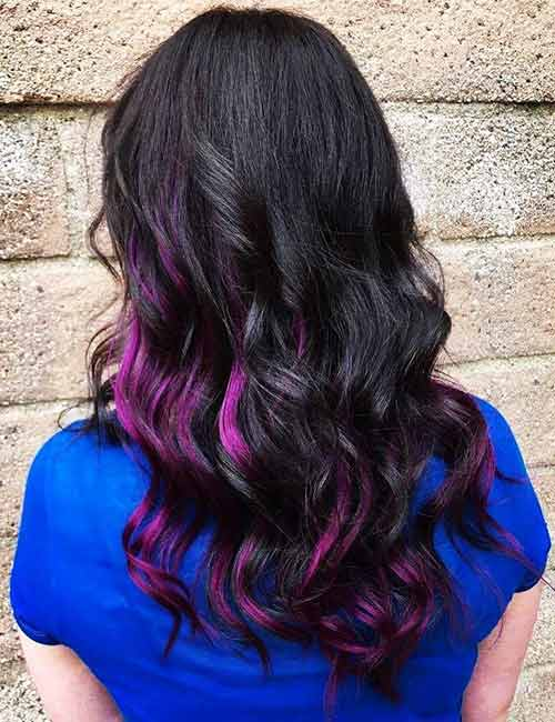 20 pretty purple highlights ideas for dark hair ultraviolet highlights on jet black hair solutioingenieria Images