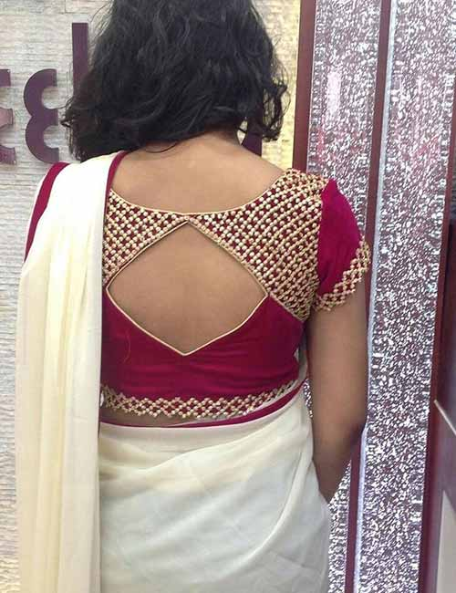 13d4da157dbf5e Bead Patch Work Back Neck Design For Plain Or Lace Sarees