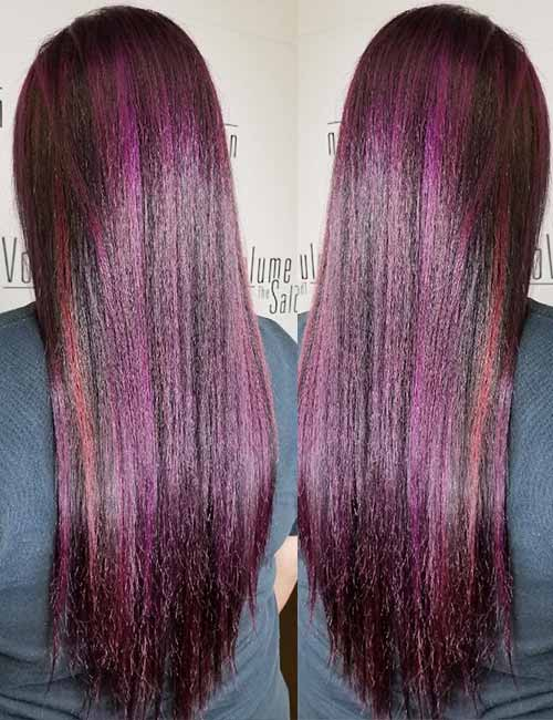 20 pretty purple highlights ideas for dark hair violet highlights with red streaks pmusecretfo Image collections