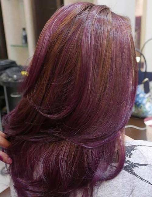 5. Lilac Highlights On Dark Ginger Hair