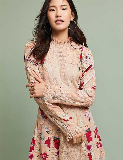 5. Pastel Colored Short Lace Dress