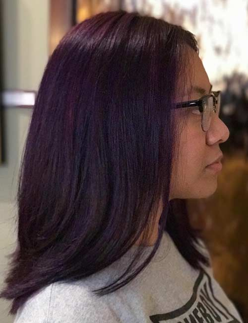 6. Deep Purple Balayage On Jet Black Hair