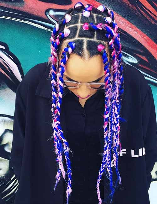 6. Funky Pink And Blue Jumbo Box Braids