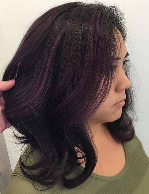 20 Pretty Purple Highlights Ideas For Dark Hair