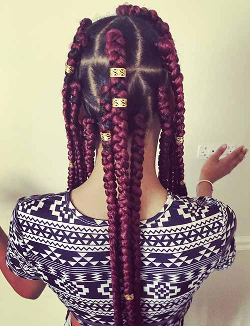 Long Burgundy Box Braids Hairstyle Inspirations 2018