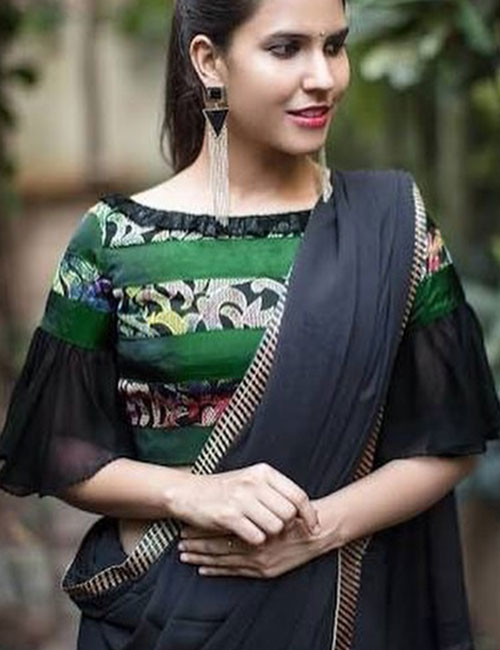 9. Patchwork Blouse With Boat Neck Pattern For Half-Saree