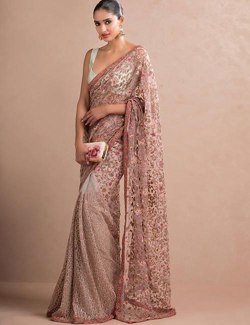 9. Satin Saree With Floral Embroidery