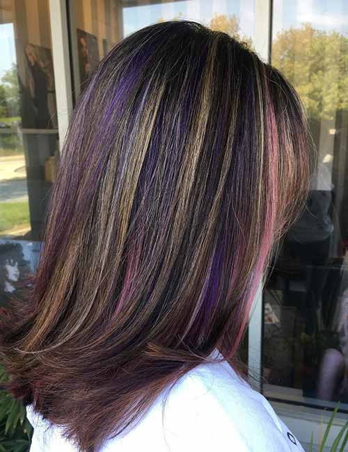 9. Subtle Blonde And Purple Highlights