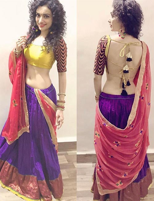1. Backless Blouse With Doris For Lehenga Or Half Saree