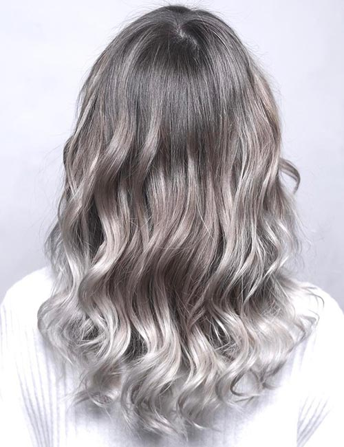 Balayage For Black Hair - Sterling Gray Balayage