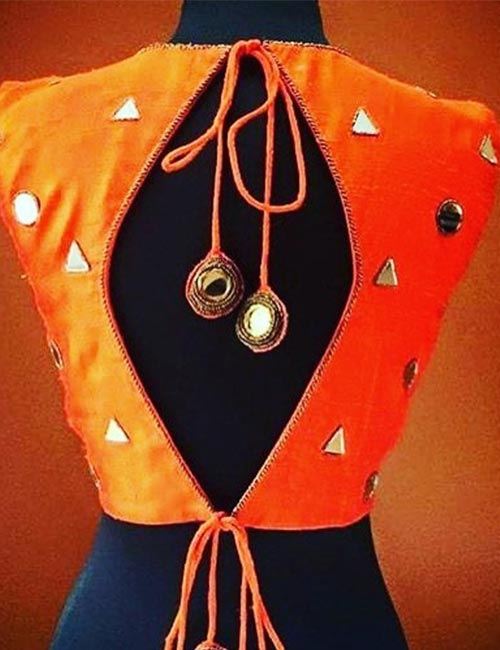 10. Backless Blouse With Mirror Work