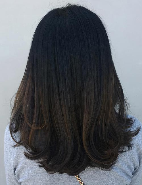 Balayage For Black Hair - Subtle Brown Balayage