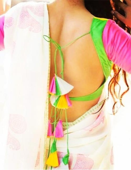11. Multi-colored Backless Blouse