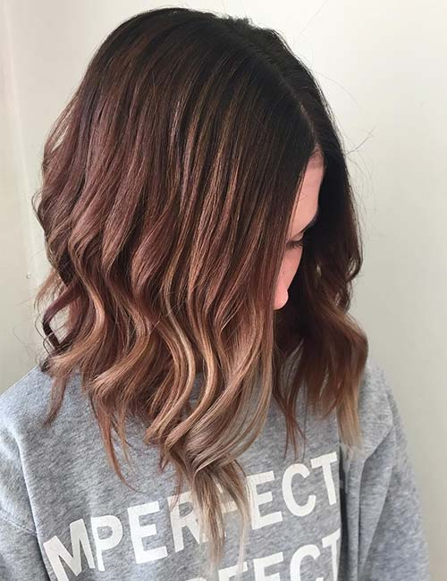 30 best highlight ideas for dark brown hair rose gold highlights pmusecretfo Gallery