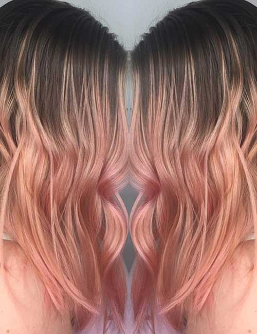 Balayage For Black Hair - Rose Gold Melt