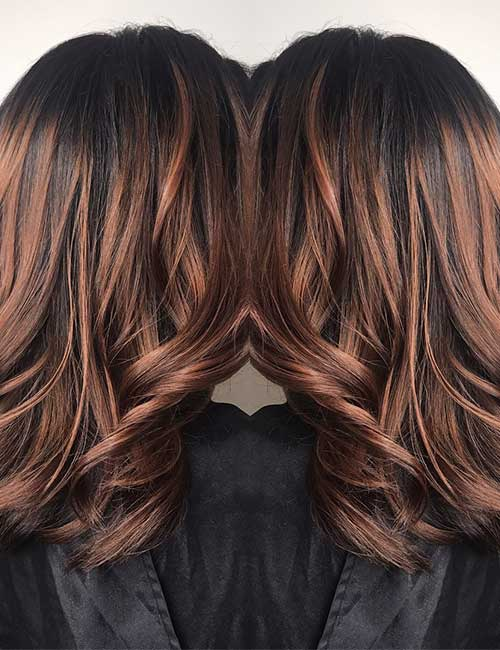Balayage For Black Hair - Mahogany Highlights