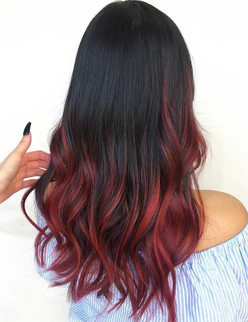 14. Burgundy Red Balayage On Black Hair