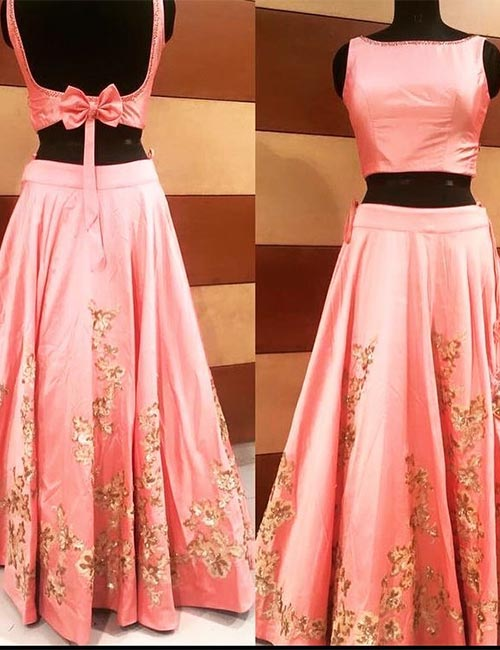 14. Satin Backless Blouse With A Bow For Lehenga