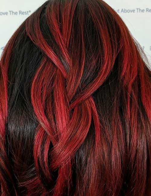 15. Crimson Red Balayage On Black Hair