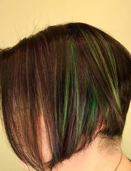 15. Lime Green And Violet Highlights