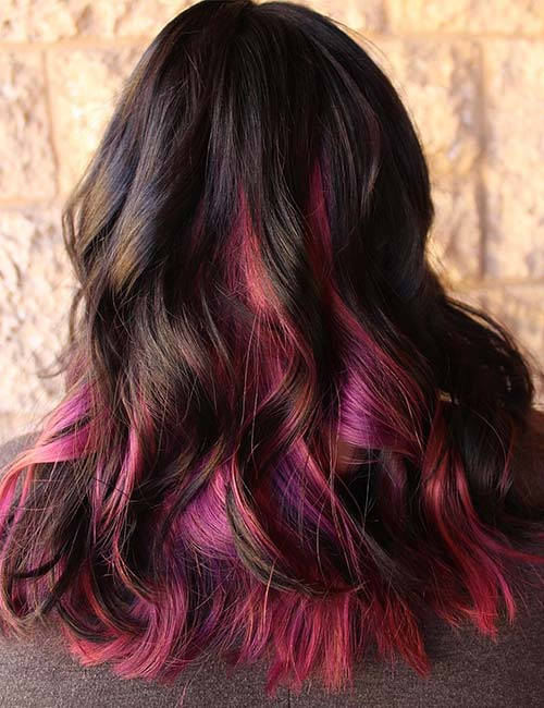 30 best highlight ideas for dark brown hair magenta and bubble gum pink highlights pmusecretfo Choice Image